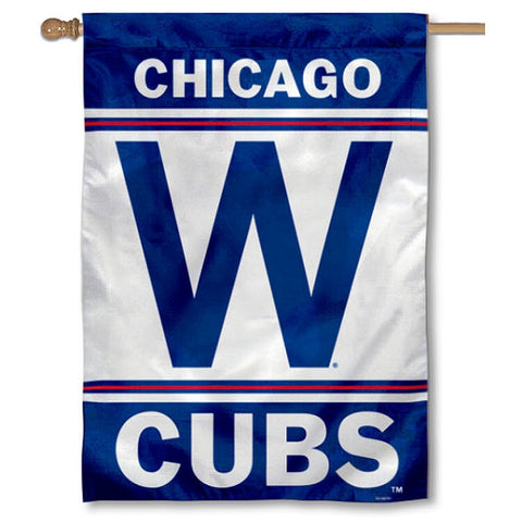 "Chicago Cubs 2-Sided ""W"" Vertical 28X40 House Flag"