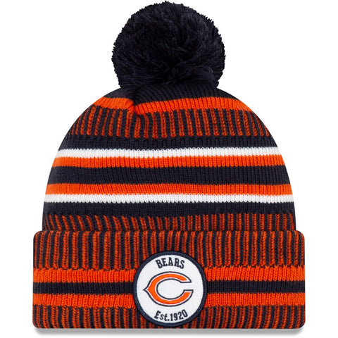 Chicago Bears New Era 2019 NFL Sideline Home Official Logo Sport Knit Hat - Navy/Orange