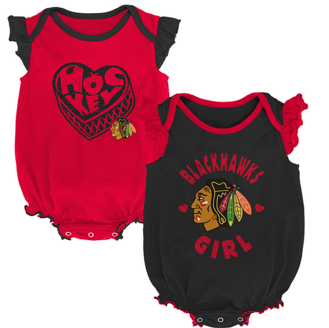 Newborn/Infant Girls Chicago Blackhawks Hockey Kids Short Sleeve Creeper 2-Pack