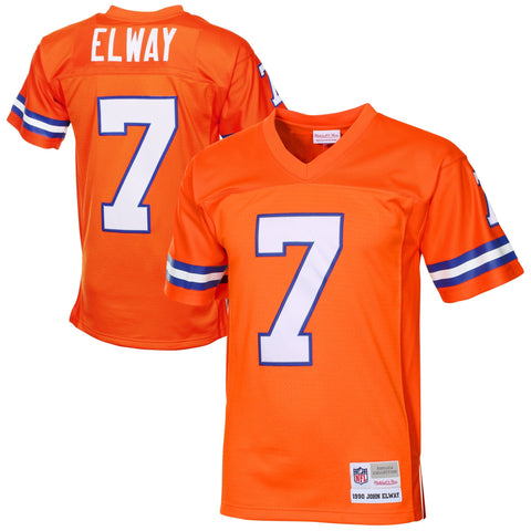 Mens Denver Broncos John Elway Mitchell & Ness Orange 1990 Retired Player Vintage Replica Jersey