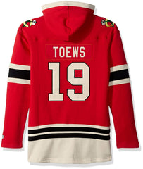 Old Time Hockey Men's Chicago Blackhawks Jonathan Toews #19 Red Lace-Up Jersey Hoodie