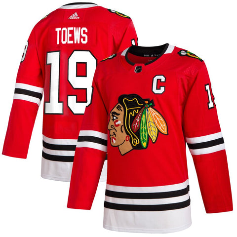 Men's Chicago Blackhawks Jonathan Toews adidas Red Home Authentic Player Jersey (updated collar)
