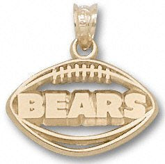 Chicago Bears Solid 10K Gold ''BEARS'' Pierced Football Pendant