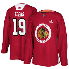 Men's Chicago Blackhawks Jonathan Toews Adidas Red Authentic Practice Jersey