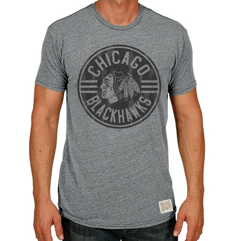 Men's Chicago Blackhawks Gray Circle Logo Short Sleeve Tee