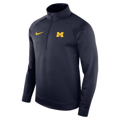 Nike Mens Michigan Wolverines Long Sleeve Therma 1/2 Zip Top