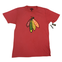Chicago Blackhawks 4 Feathers Brass Tacks Tee By Red Jacket