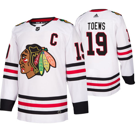 Men's Chicago Blackhawks Jonathan Toews adidas White Away Authentic Player Jersey (updated collar)