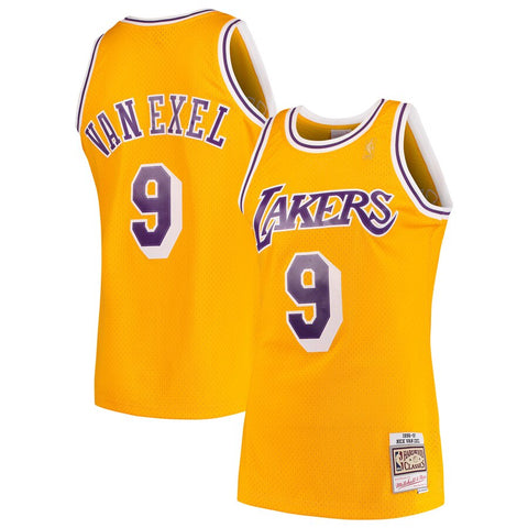 Mitchell & Ness Nick Van Exel Los Angeles Lakers Gold 1996-97 Hardwood Classics Swingman Jersey