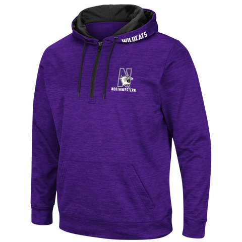 Men's NCAA Northwestern Wildcats Wonder Marled 1/4 Zip Hoodie By Colosseum Athletics