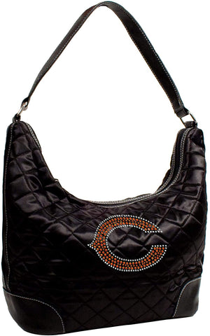 Littlearth NFL Chicago Bears Sport Noir Quilted Hobo Purse