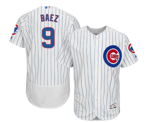 Majestic Men's Authentic Chicago Cubs Javier Baez Home White Flex Base On-Field Jersey