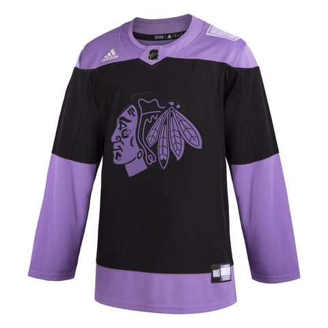 Men's Chicago Blackhawks Adidas Black/Lavendar 2019 Hockey Fights Cancer Authentic Blank Jersey