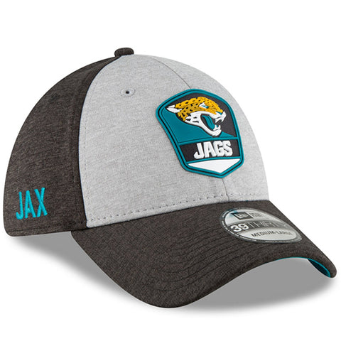 Men's Jacksonville Jaguars New Era Heather Gray/Black NFL18 Sideline Road Official 39THIRTY Flex Hat