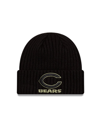 Men's Chicago Bears New Era Black 2020 Salute to Service Alternate Primary Logo Cuffed Knit Hat