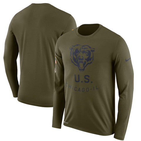 Men's Chicago Bears Nike Olive Salute to Service Sideline Legend Performance Long Sleeve T-Shirt
