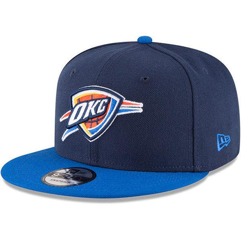 Mens Oklahoma City Thunder New Era Navy/Blue 2-Tone Original Fit 9FIFTY Adjustable Snapback Hat