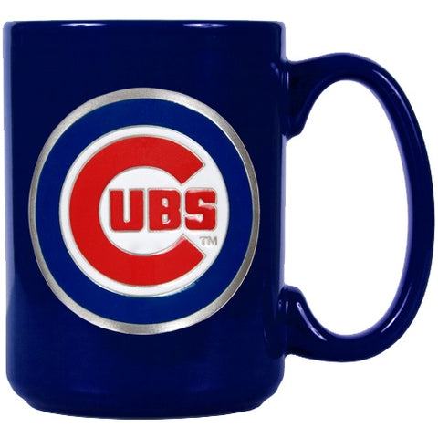 Chicago Cubs 15 oz. Royal Blue Ceramic Metal Primary Logo Emblem Mug