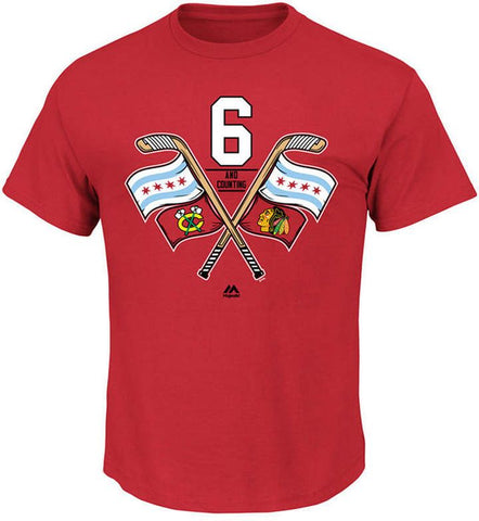 Men's Chicago Blackhawks Majestic Red 6 Time Champions Raise The Flag Tee