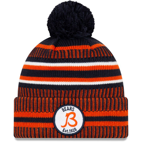 Men's New Era Navy/Orange Chicago Bears 2019 NFL Sideline Home Official Sport Knit Hat