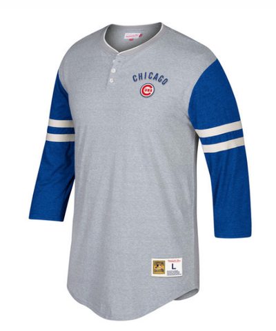 Men's Chicago Cubs Mitchell & Ness Gray Home Stretch 3/4-Sleeve Henley T-Shirt