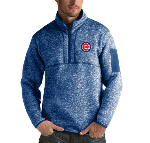 Men's Chicago Cubs Antigua Royal Fortune Half-Zip Sweater