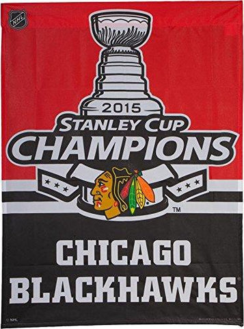 Chicago Blackhawks 2015 Stanley Cup Champions 27X37 Vertical Flag