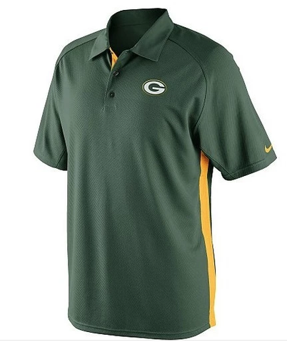 Men's NFL Nike Green Bay Packers Dri-FIT Coaches 2 Team Color Polo