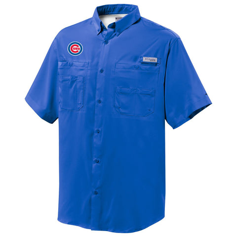 Men's Chicago Cubs Royal Blue Tamiami Button Down Shirt By Columbia