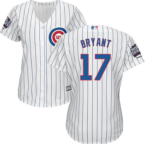 Women's Chicago Cubs Kris Bryant Home Cool Base Jersey w/ 2016 World Series Champions Patch