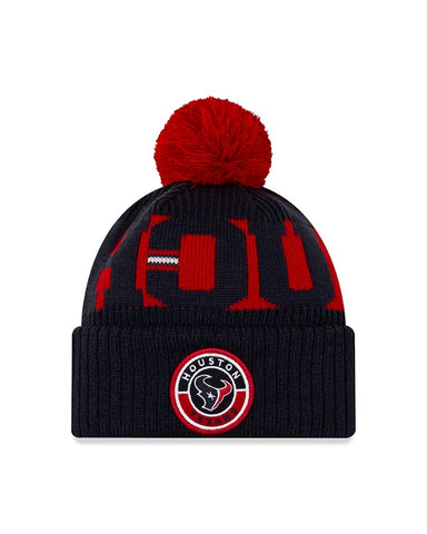 Men's Houston Texans New Era Navy/Red 2020 NFL Sideline Official Sport Pom Cuffed Knit Hat