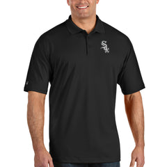 Antigua Chicago White Sox Black Pique Xtra Lite Polo