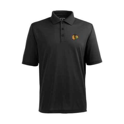 Antigua Men's Chicago Blackhawks Black Xtra-Lite Pique Performance Polo
