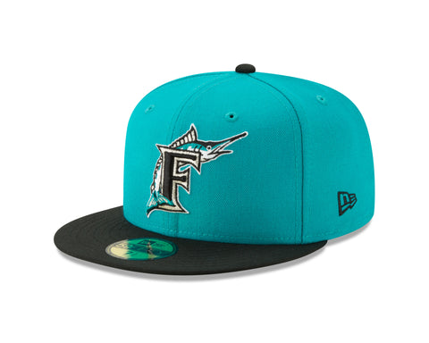 Florida Marlins Cooperstown Collection Teal/Black 59FIFTY Fitted Hat