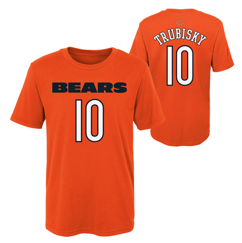 Youth Chicago Bears Mitchell Trubisky Orange Mainliner Name & Number T-Shirt