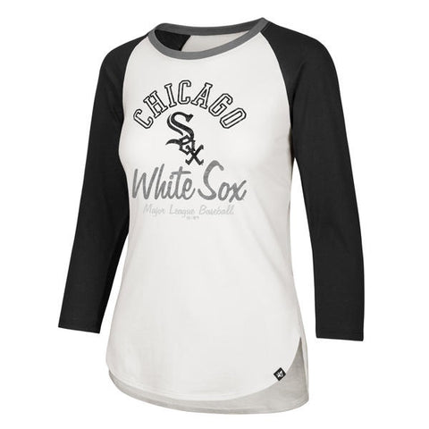 MLB Chicago White Sox Womens 47 Brand Arch Script Raglan  3/4 Sleeve Tee