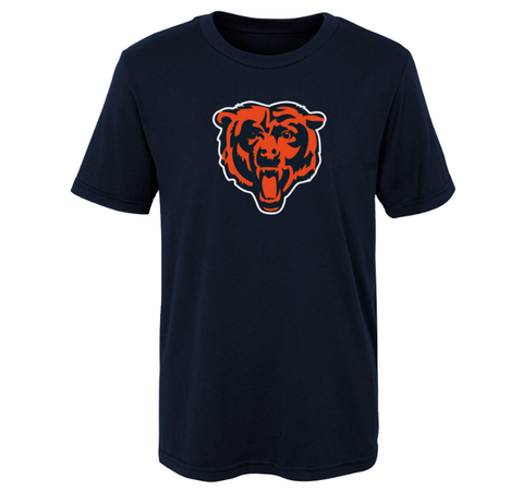 Chicago Bears Youth NFL Secondary Logo Navy Short Sleeve T-Shirt