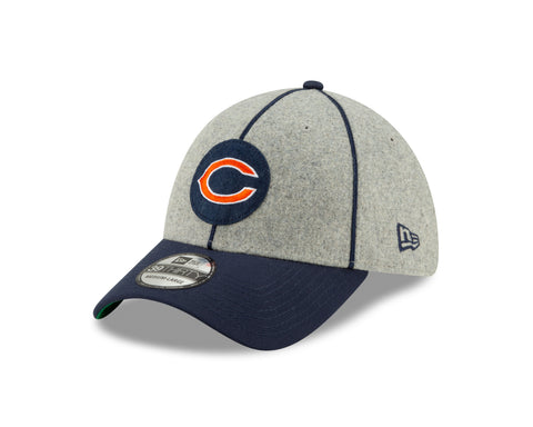 "Chicago Bears 2019 Established Collection Sideline 1920 Home ""C"" Logo Gray/Navy 39THIRTY Flex Hat"