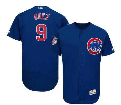 Majestic Men's Authentic Chicago Cubs Javier Baez Alternate Blue Flex Base On-Field Jersey