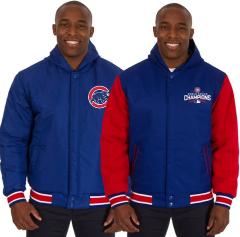 Mens Chicago Cubs JH Design Royal/Red 2016 World Series Champions Polytwill Fleece Reversible Hooded Jacket