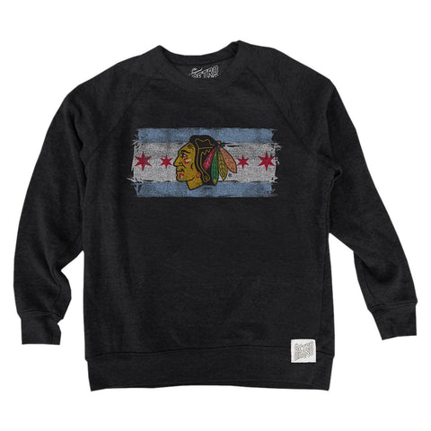 Men's Chicago Blackhawks Chicago Flag Tri Blend Crew Neck Sweatshirt
