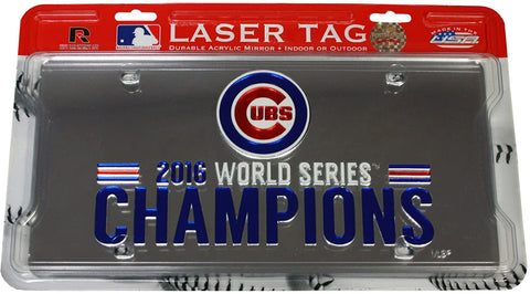 Chicago Cubs 2016 World Series Champions Laser Cut License Plate