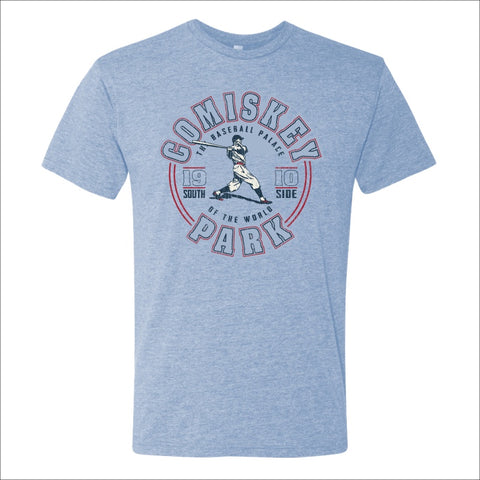 "Men's Comiskey Park Heather Blue ""The Baseball Palace"" Tee"