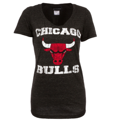Chicago Bulls Tri Blend Distressed Logo Tee