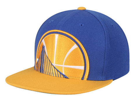 Men's NBA Mitchell & Ness Golden State Warriors Cropped XL Logo Snapback Adjustable Hat
