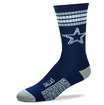 Dallas Cowboys For Bare Feet 4-Stripe Deuce Team Color Performance Crew Socks