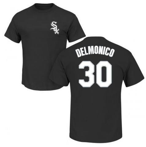 Men's Chicago White Sox Nicky Delmonico Majestic Black Official Name & Number T-Shirt