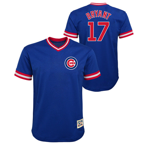 Youth Kris Bryant Chicago Cubs Cooperstown Cooperstown Collection Blue V-Neck Mesh Jersey