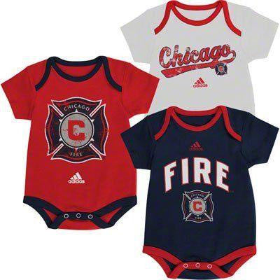 adidas Chicago Fire Infant Creeper 3 Pack Bodysuit