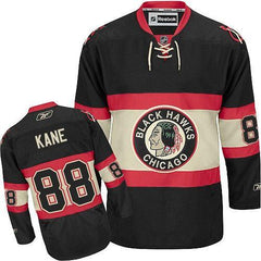 Mens Chicago Blackhawks Patrick Kane Premier Black Alternate Jersey with Double Layered Pro Tackle-Twill Lettering